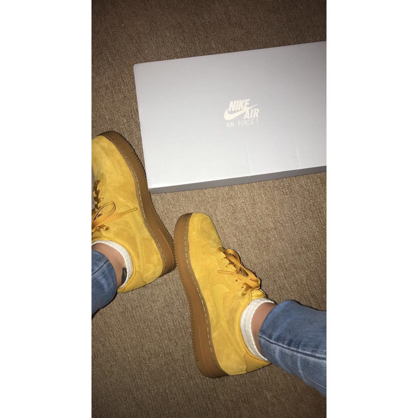 Nike Air Force 1 in mustard suede with