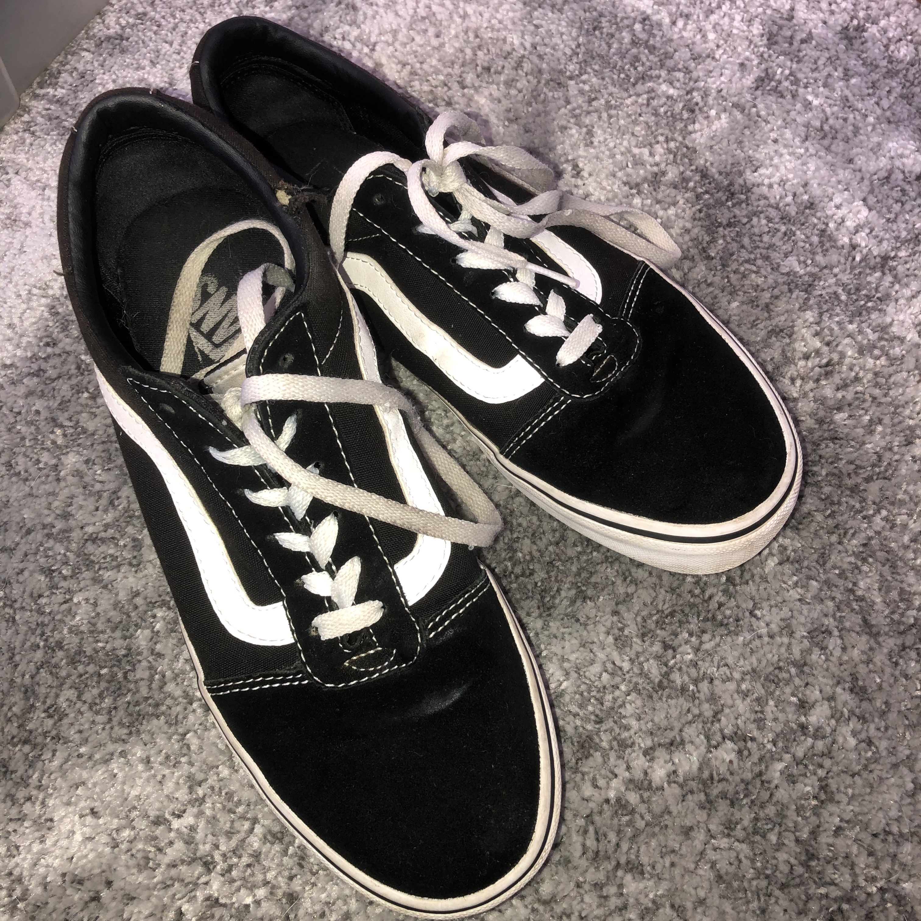old skool vans, worn many times and has a small hole Depop