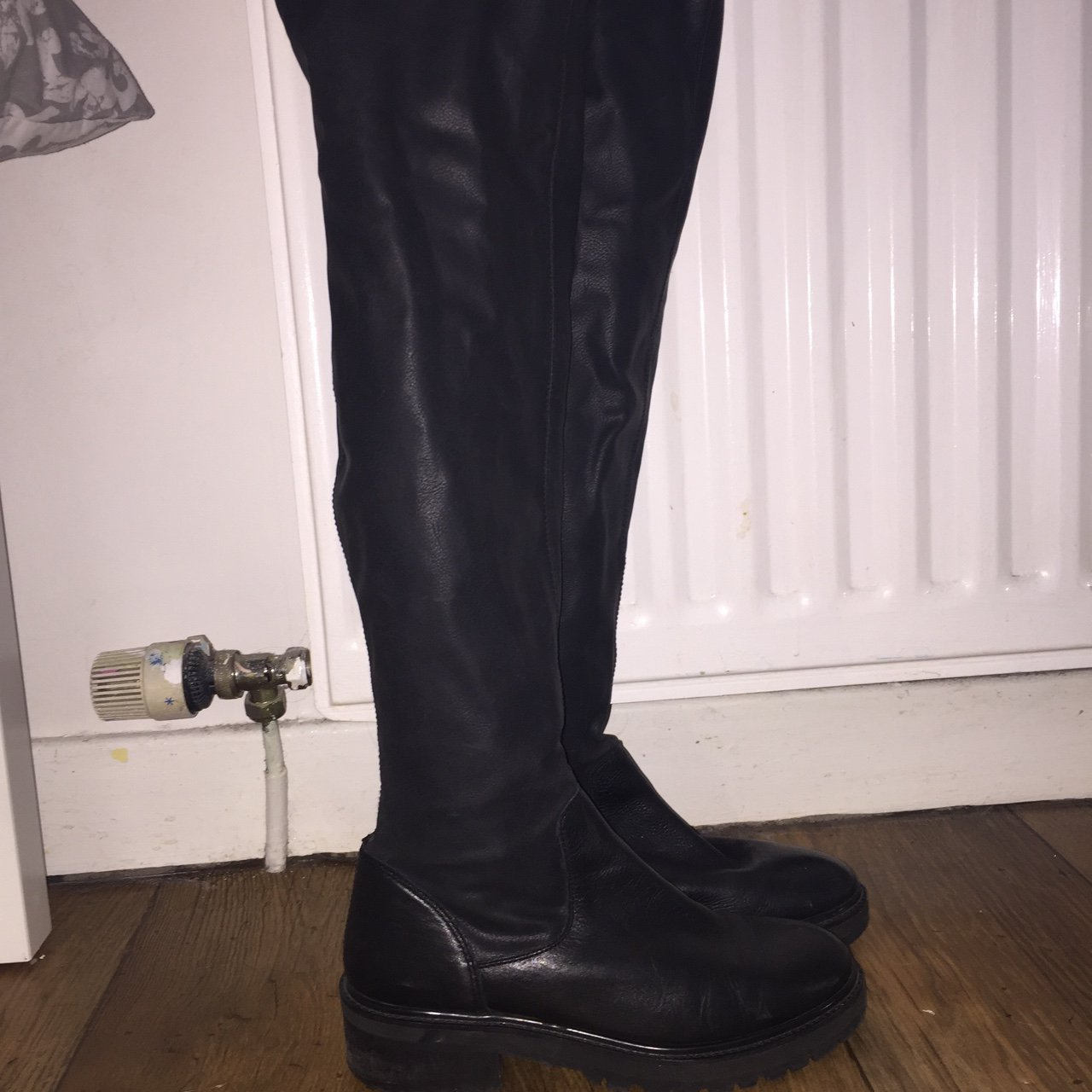 904843934104 Topshop over the knee flat black leather boots Size 6 Worn - Depop