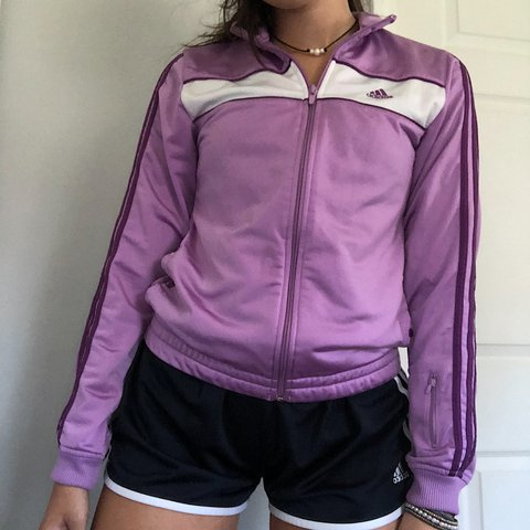 b0527cfdd6a6 purple adidas track jacket -would best fit size small -size - Depop