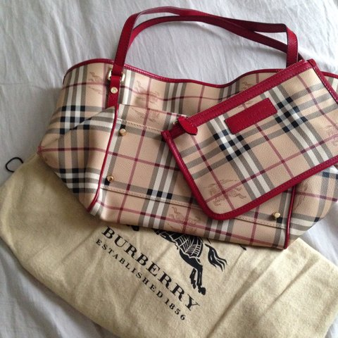 08cb321a82 @_yukting. 2 years ago. London, UK. Genuine designer Burberry checked tote  bag with red leather ...