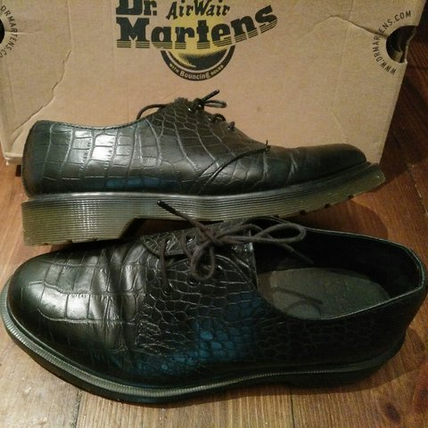 b46ac8b402067 @lunaperlafrostx. 3 years ago. London, United Kingdom. DR MARTENS 1461 CROC  PRINT GENUINE LEATHER SHOES - UK SIZE ...