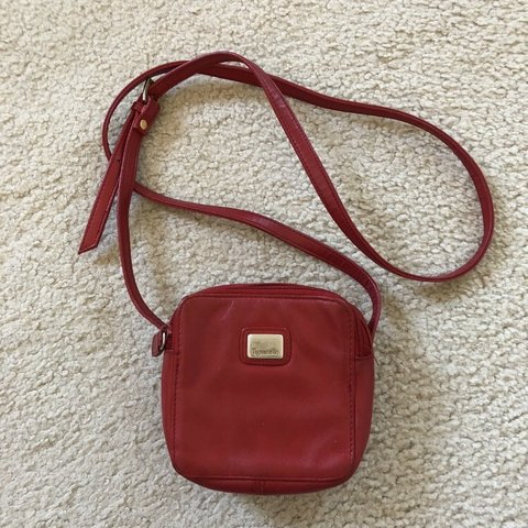 778c9485a0f1 Small Vintage Tignanello crossbody red purse. Dimensions  is - Depop