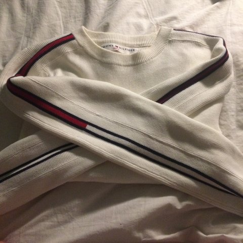 25ce7354722 Brand new Tommy Hilfiger cropped cream sweater in size worn, - Depop