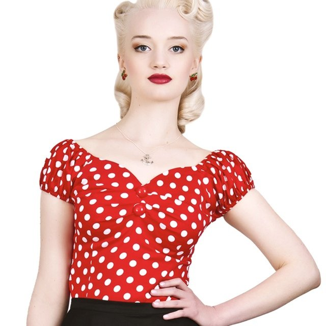 d683d8cc9dac Dolores red polkadot collectif top size 8 - 10. Off the 50 s - Depop