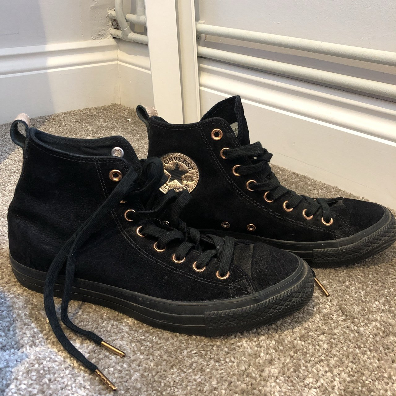 181f8e3bacb Like new black suede and rose gold converse hi tops. Worn so - Depop
