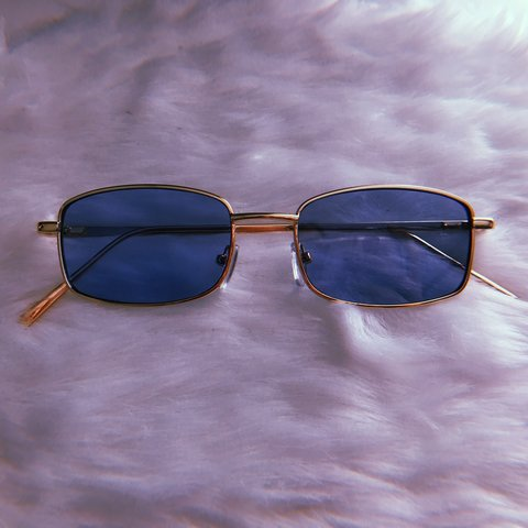 8dcb804fe4fdd BLUE   GOLD STUNNA SHADES ✨ Perfect for men and women. have - Depop