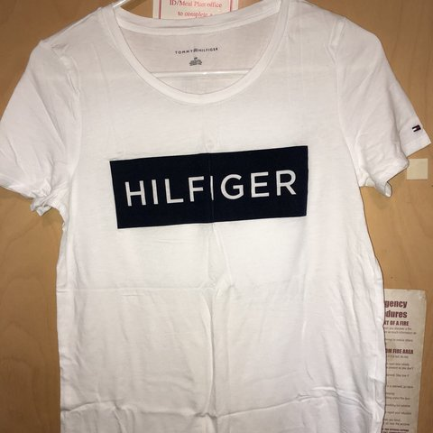 f29cb9593df Tommy Hilfiger White T-shirt with white logo - worn once - - Depop