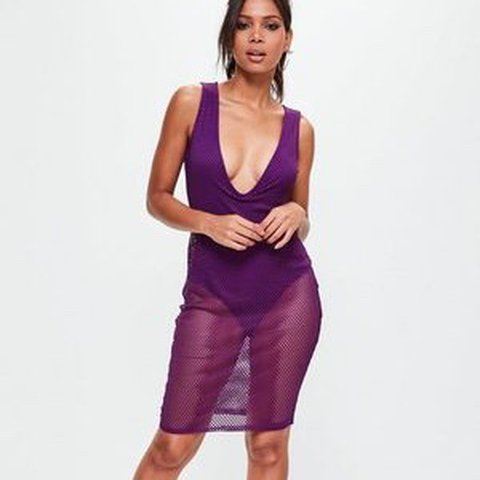 002144117408 Super pretty purple mesh dress from misguided, worn once for - Depop