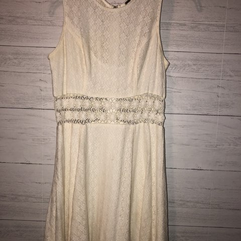 23088363bafc off white free people floral lace dress it s cut off in the - Depop