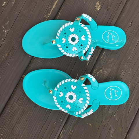fcd562743a354e Jack Rogers Turquoise Sandal. Like new plastic blue green a - Depop