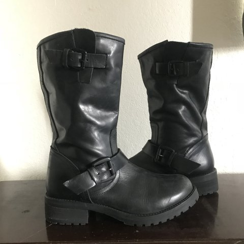 c46baf5236 Steve Madden Leather Moto Boots. I thrifted these