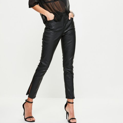 "7367c610 @zoekh. last year. Letchworth Garden City, United Kingdom. Black coated  jeans/ leather look trousers. Missguided ""premium black sinner high waisted  ..."