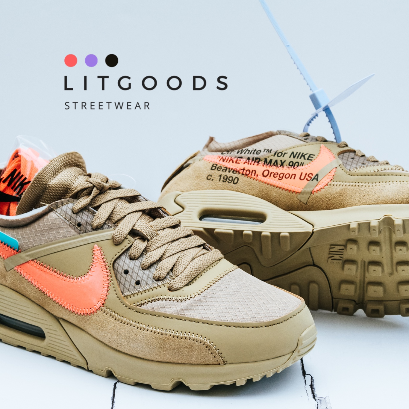 Off White x Nike Air Max 90 Desert Ore Size UK 7.5 Depop