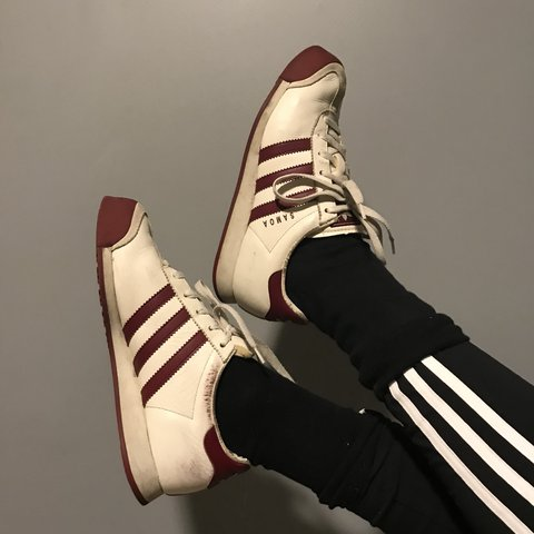 VINTAGE RARE adidas samoa sneakers! burgundy stripes and to - Depop 90a525269
