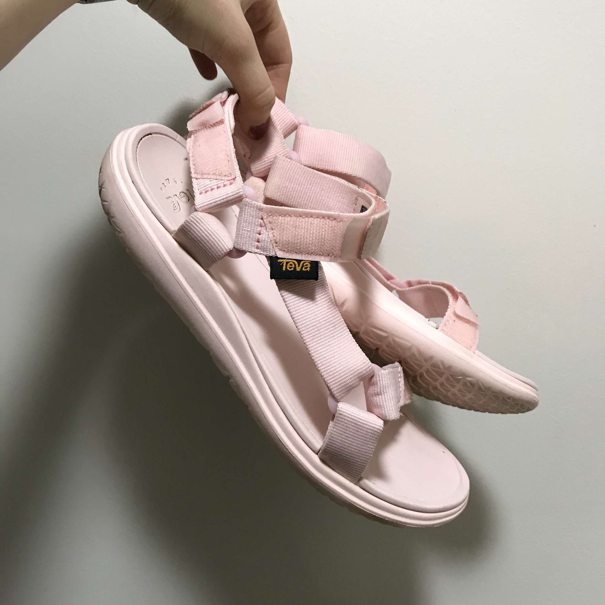 baby pink TEVA sandals! size 8! only