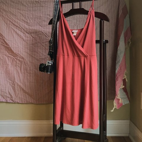 a4dfcdd1d2c Rusty coral orange easy wrap dress from Mossimo target! a at - Depop