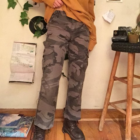 cf4acc4c Camo wrangler jeans Quality pants. Good condition except on - Depop