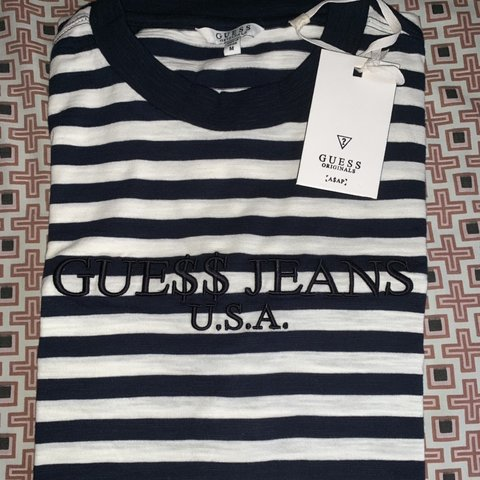 18c777815d7d @stickynipple. last month. New York, United States. BNWT GUESS x Asap Rocky  navy & white stripe tee size M