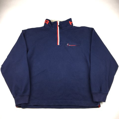 8fc0444d @209greatbeginnings. 6 months ago. United States. Vintage Tommy Hilfiger  1/4 Zip Collar Spell Out Men's Fleece Jacket Size XL