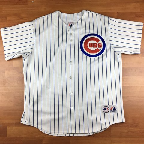 b3fde595 @209greatbeginnings. 9 months ago. United States. Vintage Majestic MLB  Chicago Cubs Patch Embroidered Pin Striped Men's Baseball Jersey ...