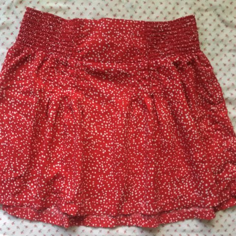a293bc8b31 @fashionfruit_amie. last year. Los Angeles, United States. Flowy red mini  skirt with white polka dots. Comfy and nice ...