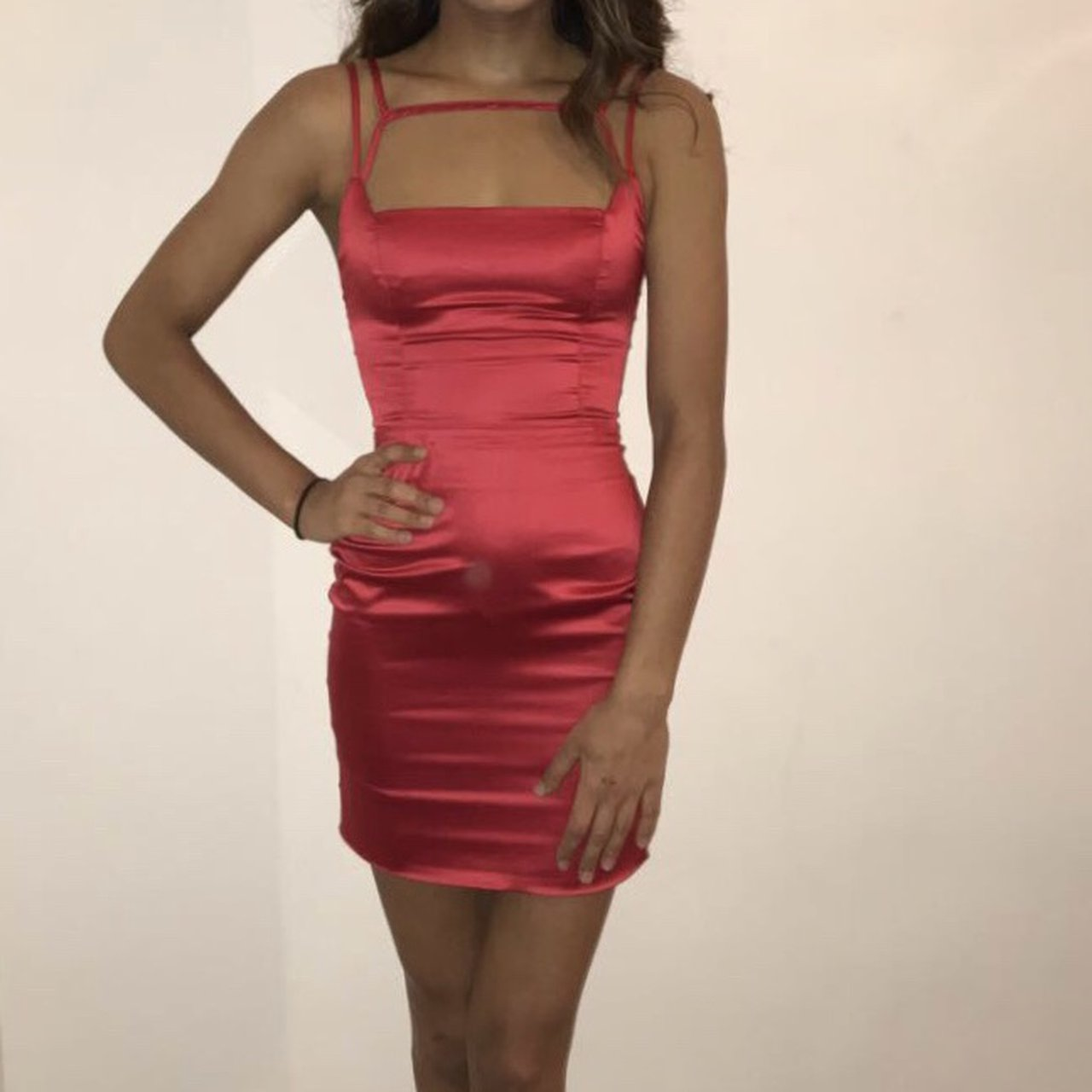 739ade1911 Oh Polly - Run The Show Cut Out Satin Mini Dress In Red. - - Depop