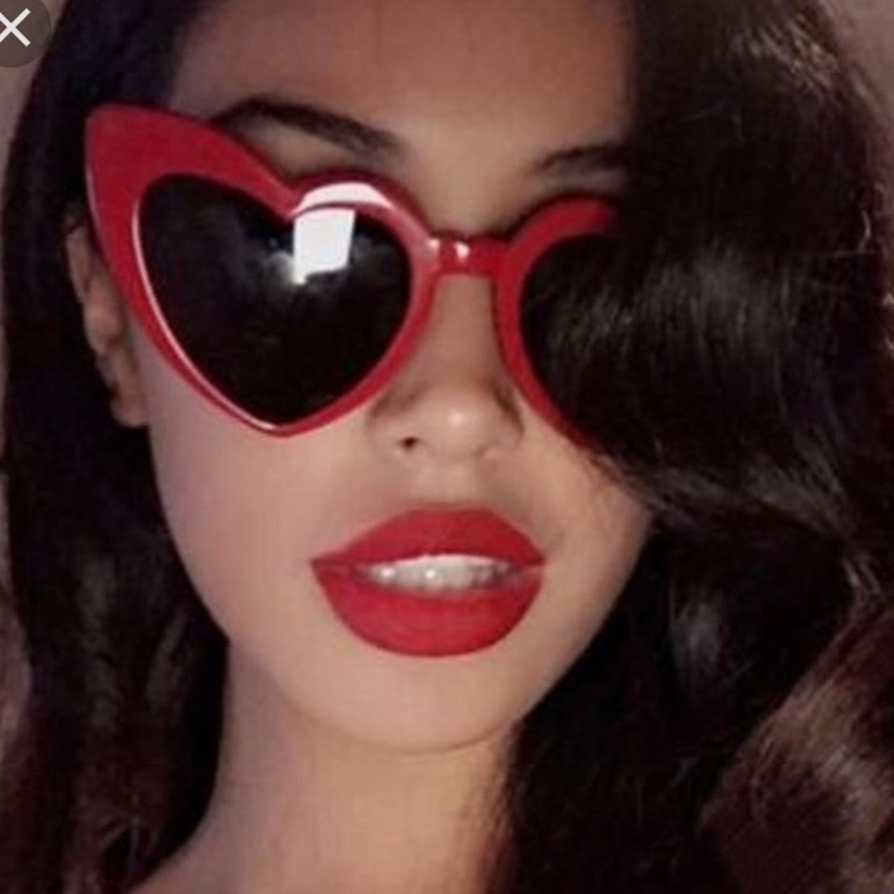 a506eed94b Red oversized exaggerated love heart shaped sunglasses with - Depop