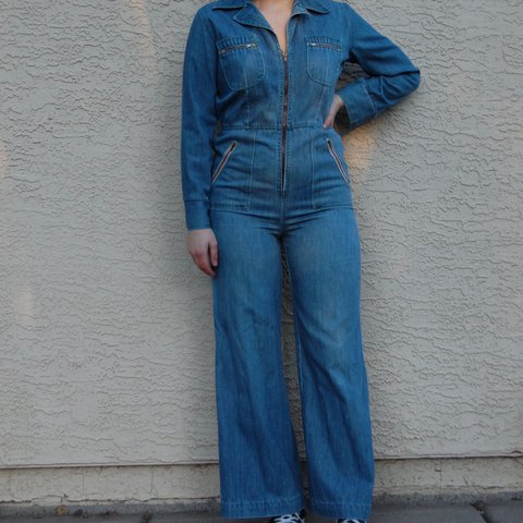 b8aa6c94c4c5 Flawless 70s denim jumpsuit from Sears. Vintage size 11 so a - Depop