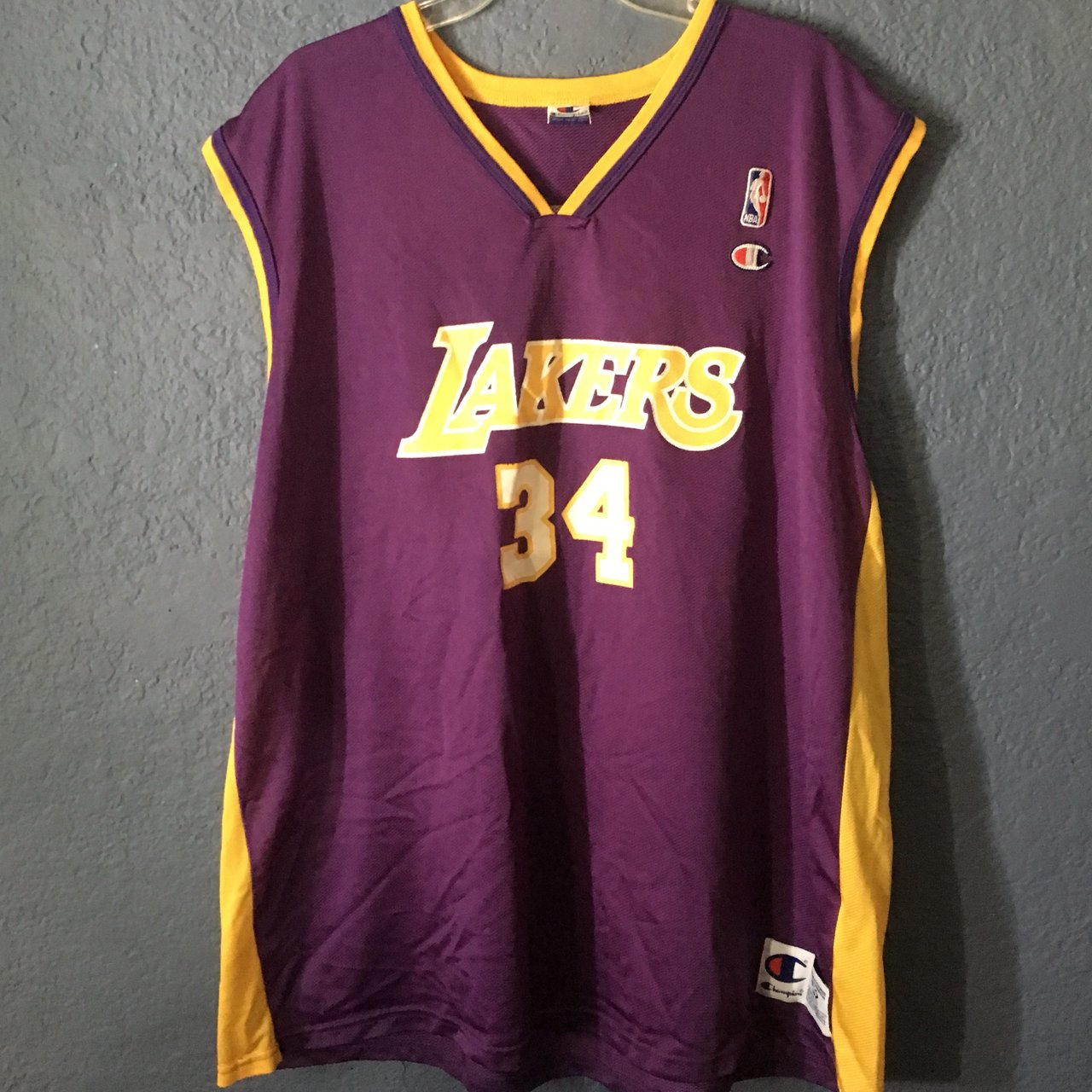 Vintage 90s Champion Los Angeles Lakers Shaquille O Neal 52 - Depop cb019eea2