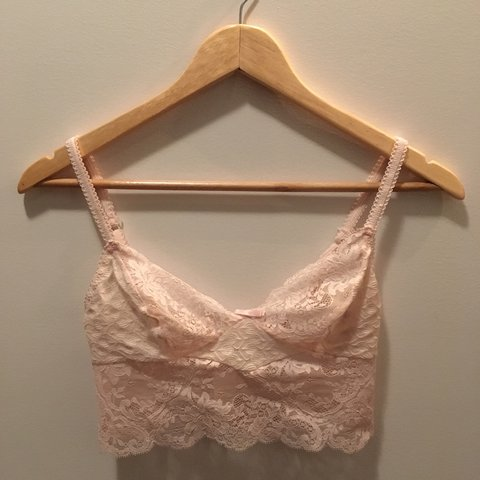 17bbaa3404 Vintage light pink lace bralette. Hook closure back. Never 1 - Depop