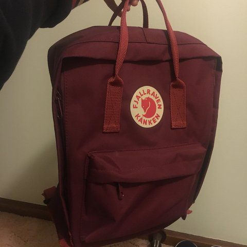 8469aa806dee2 Repop  fjallraven kanken backpack (medium) in wine red weird - Depop