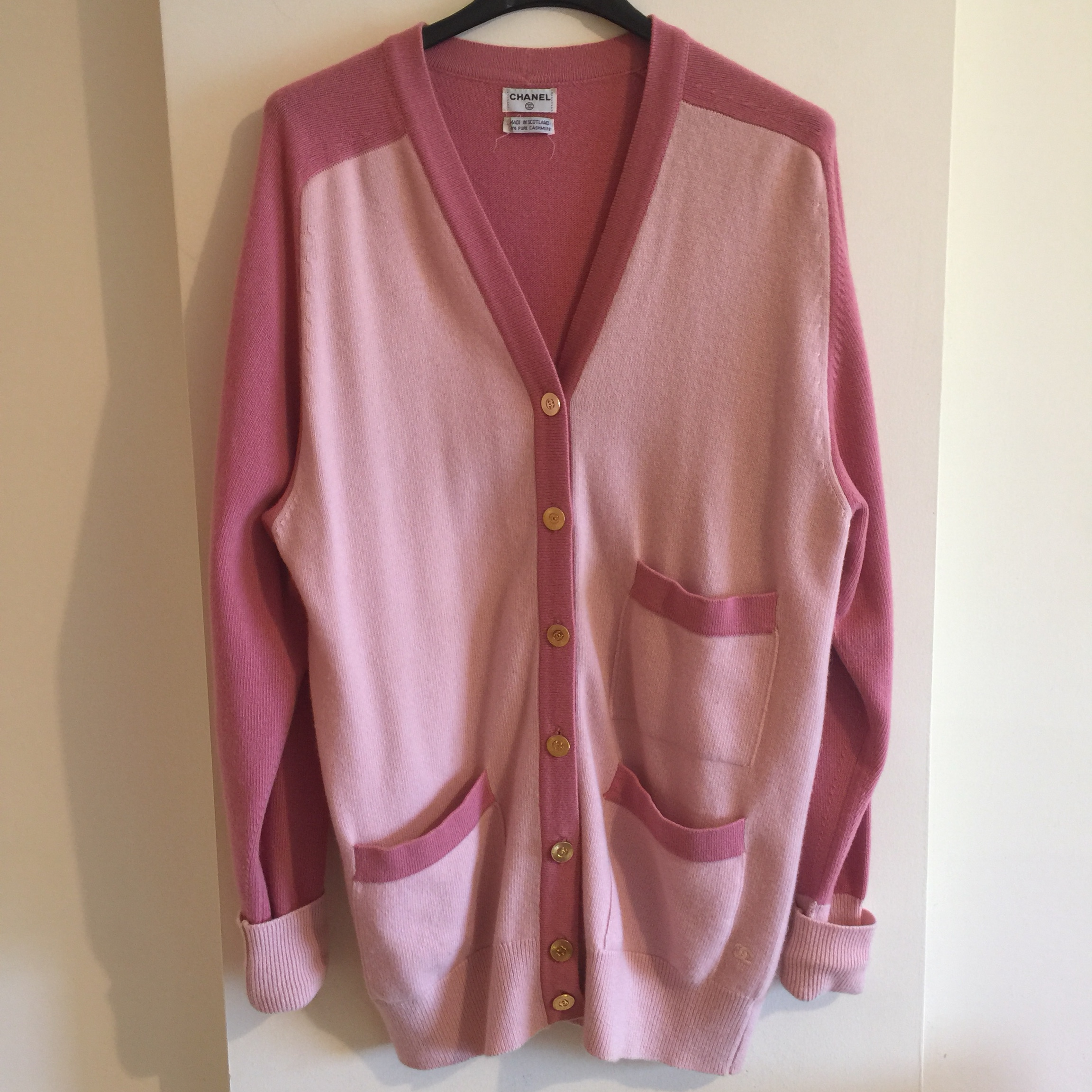 Vintage pink cardigan with golden buttons