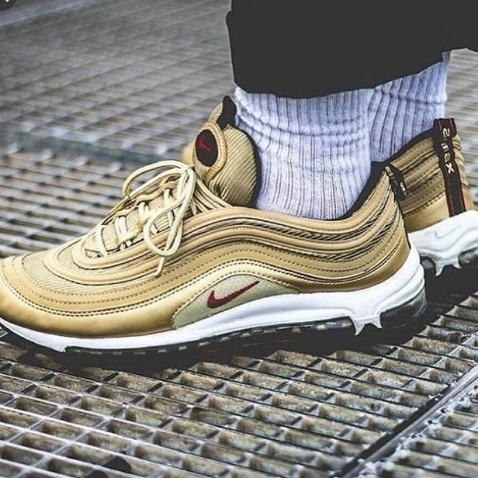 best sneakers 0ad3e f2f75 Nike Air max 97 metallic gold Barely worn Great... - Depop