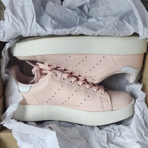 9f64b878e3c4f Adidas pale pink platform Stan Smith trainers in size 4 - in - Depop