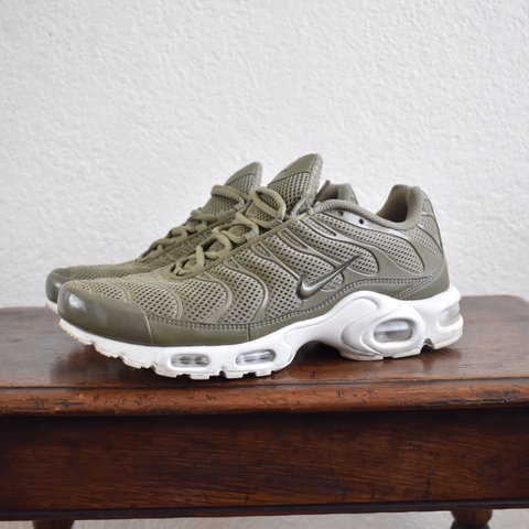 73e03c9f159cf Nike Air Max Plus BR in olive green. Size 10. Sneakers are - Depop