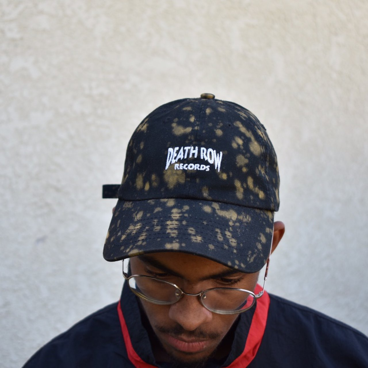 Death Row Records dad hat. Bleach splatter done by hand. air - Depop bd15be0fbbe