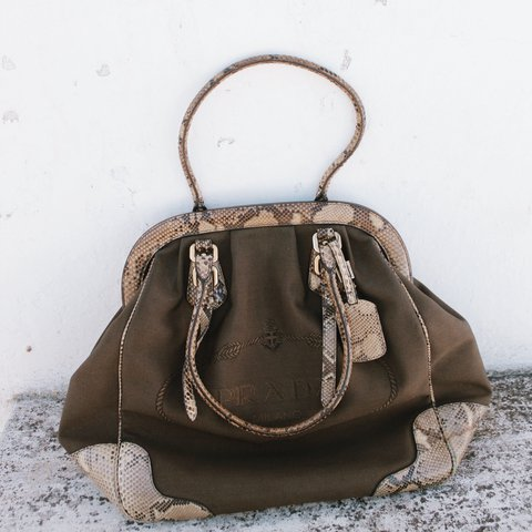 0a219798665c @staciemolot. last year. Mafra, Portugal. Authentic vintage PRADA bag with  snakeskin.