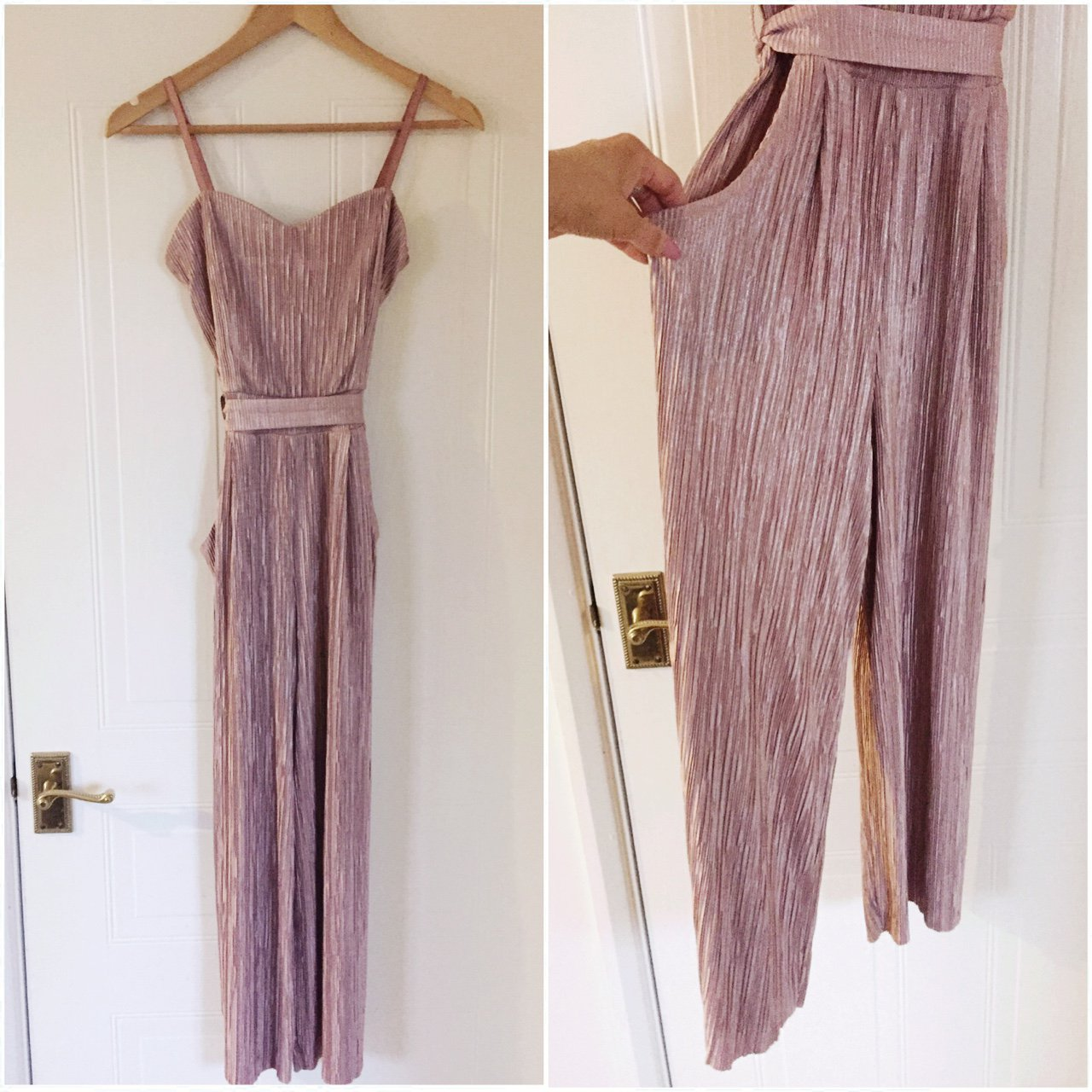 5d80ee5f2cd Nude pink metallic culotte jumpsuit from Quiz. Similar to 10 - Depop