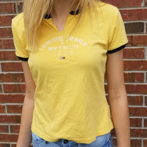 6e3e75111 @realjenna. 8 months ago. Russellville, Pope County, United States. Vintage  yellow Tommy shirt. Tommy Hilfiger