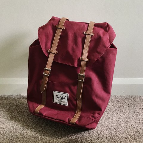 8cb6ba7bc25 GENUINE BURGUNDY HERSCHEL BACKPACK - fastens with two but a - Depop