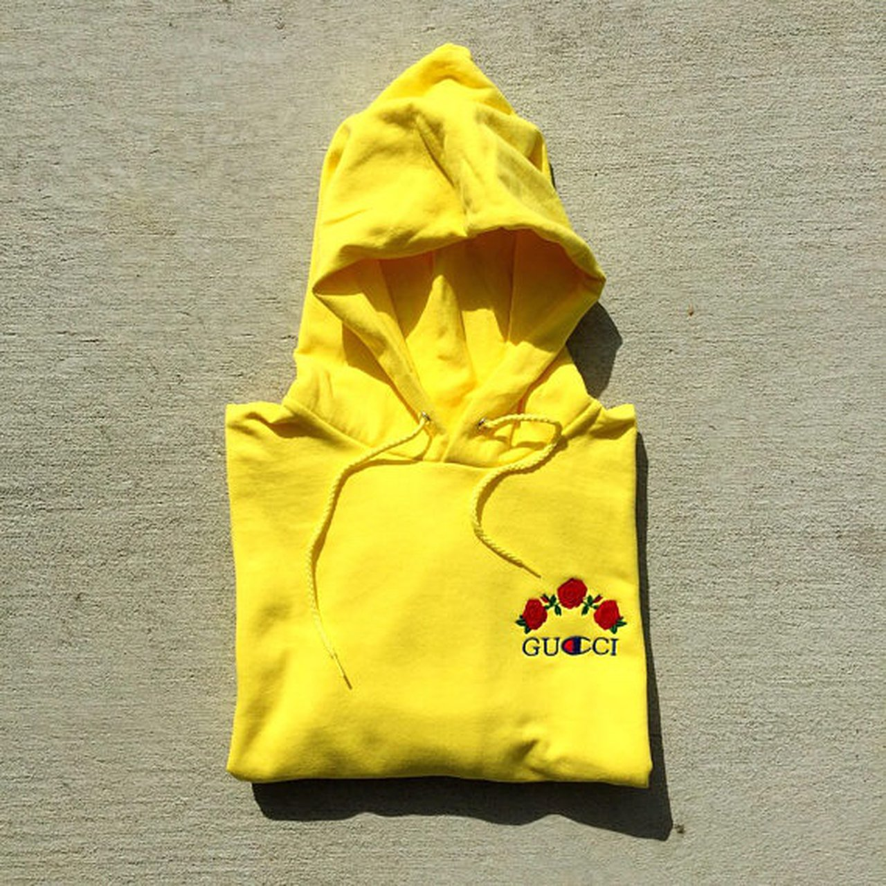 Ava Nirui Gucci x Champion Design Hoodie  roses  yellow - Depop fcccc28be