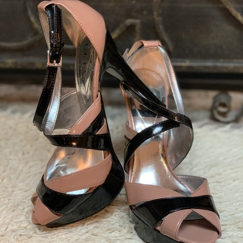 470887822ce3 Guess Black and Tan Platform Stiletto Heels Strappy Sandals - Depop
