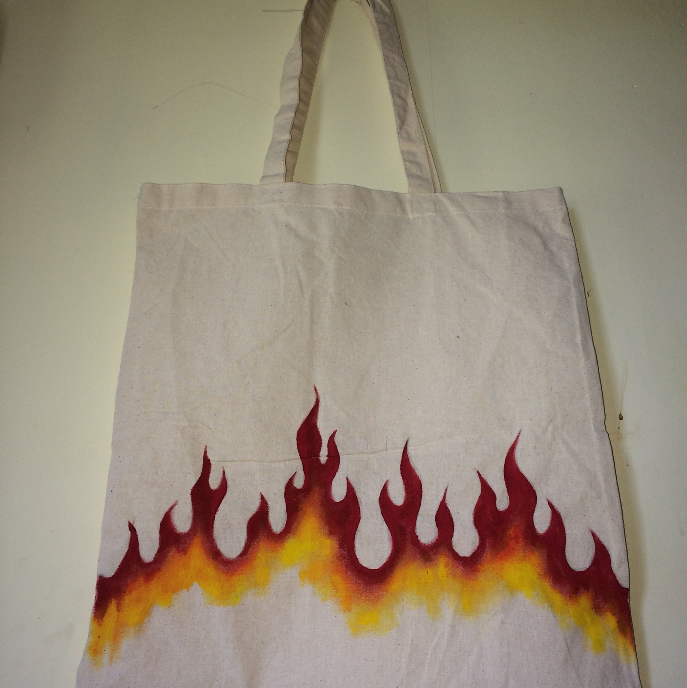 High Quality Hand Painted Flames Canvas Tote Bag Depop