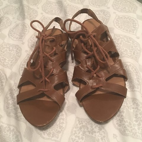6fdbabf77 Cute brown strappy sandals! A cute addition to an outfit! in - Depop