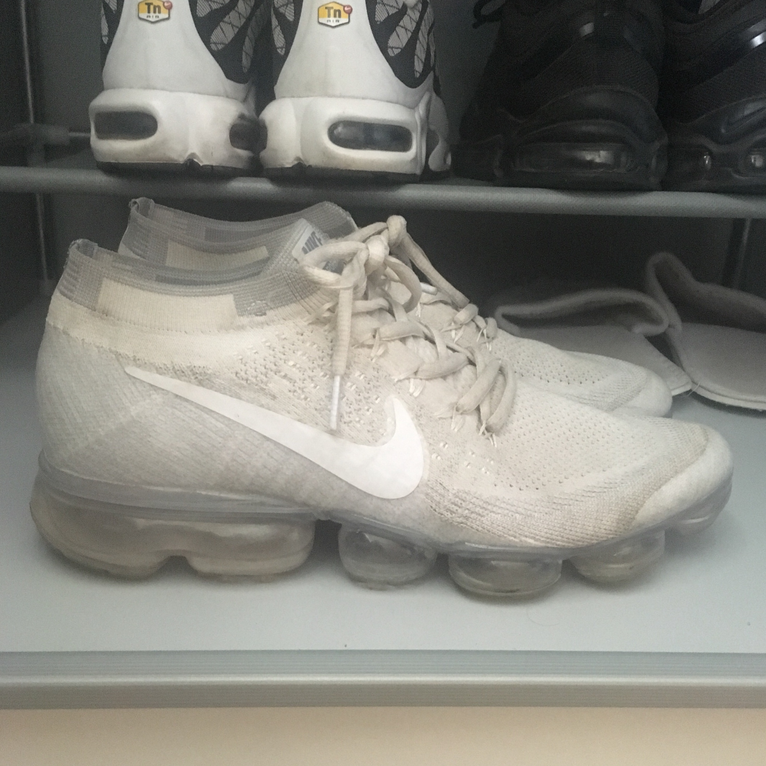 the best attitude e67d4 772e5 All white Nike vapormax flyknit Size 7.5 but... - Depop