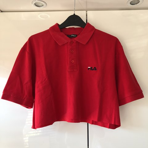 546a340b3c22eb Red Fila polo crop top Perfect for size s-m Very good  top - Depop