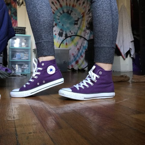 d23cd560b5a62e Purple converse high tops barely worn. Says size 3 in kids 6 - Depop