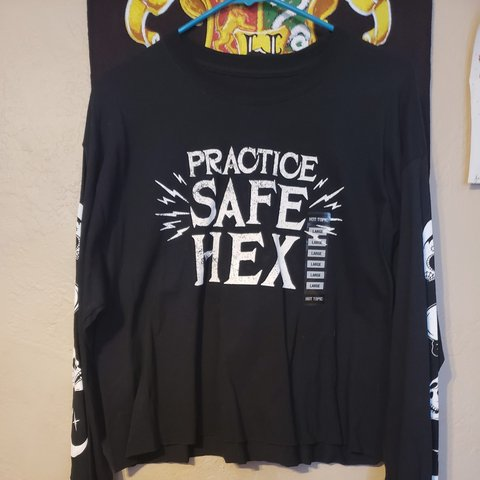 8a50a60fd7bf @jazzybaggins. 19 days ago. Lemon Grove, San Diego County, United States. Practice  safe hex! Brand new long sleeve, size is Large.
