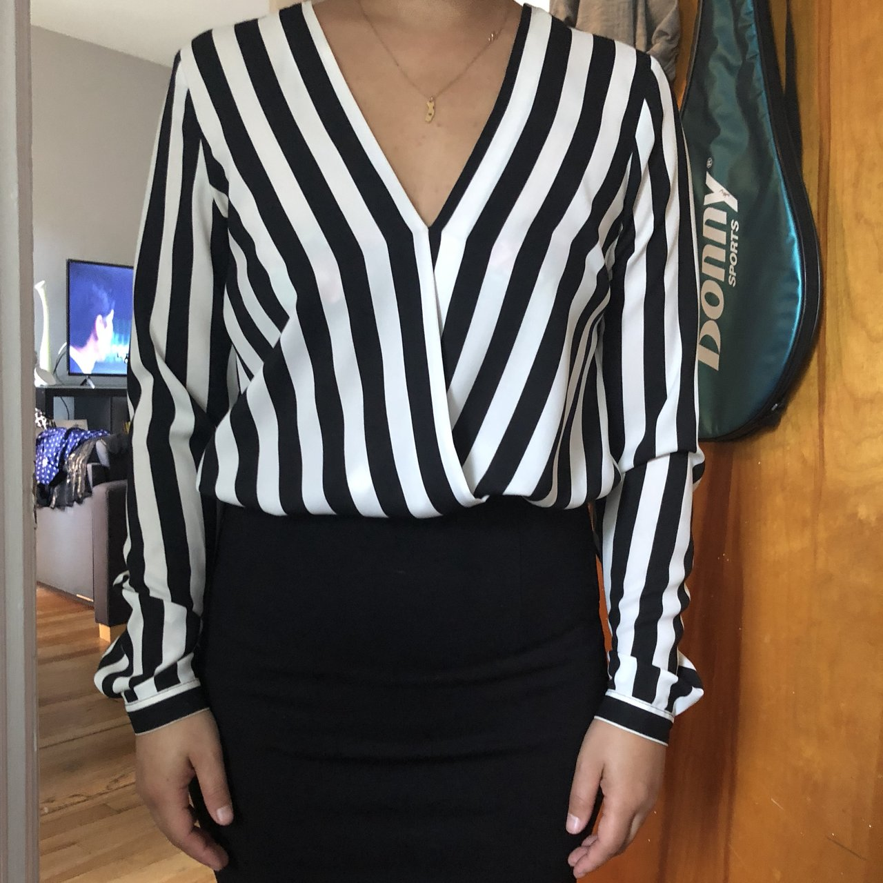 e2ba8efe5b Black and white stripes top with black skirt attached. It's - Depop